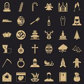 Christianity Icons Set. Simple Style Of 36 Christianity Vector Icons For Web For Any Design poster