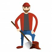 Concentrated Lumberjack Icon. Cartoon Of Concentrated Lumberjack Icon For Web Design Isolated On Whi poster