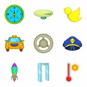Arrival At The Airport Icons Set. Cartoon Set Of 9 Arrival At The Airport Icons For Web Isolated On  poster