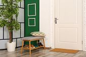 Stylish Hallway Interior With Shoe Storage Bench And White Door poster