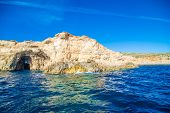 Cliffs And Sea View Of Comino Island From Boat , Malta. Seascape At Malta, Comino And Gozo Islands poster