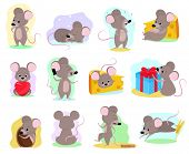 Cartoon Mouse Vector Mousy Animal Character Rodent And Funny Rat With Cheese Illustration Mousey Set poster
