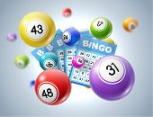 Lottery Balls And Tickets 3d Vector Illustration Of Lotto, Bingo Or Keno Gambling Sport Games. Colou poster