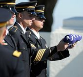 SAN DIEGO, CA - OCTOBER 29, 2008: Paying respects during a memorial ceremony for police Officer and