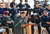 LA JOLLA, CA - OCTOBER 16: US Army and San Diego Police Officers participate in a ceremony honoring