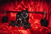 Close Up Bdsm Outfit. Bondage, Kinky Adult Sex Games, Kink And Bdsm Lifestyle Concept With A Pair Of poster