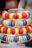 Traditional Colorful French Macarons Are Sweet Meringue-based Confection. poster