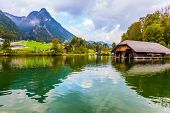 Königssee - the cleanest lake in Germany. Mountain Lake is a fabulous beauty in Bavaria. The lake  poster
