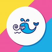 Vector Illustration Of Cetacean Icon Colored Line. Beautiful Sea Element Also Can Be Used As Baleen  poster