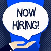 Handwriting Text Writing Now Hiring. Concept Meaning Workforce Wanted Employees Recruitment. poster