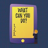 Handwriting Text What Can You Doquestion. Concept Meaning Service Determination Purpose Worth Contem poster
