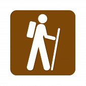 Brown Hiking Recreational Sign With A White Background poster