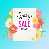 Spring Sale Banner. Hand Drawn Lettering. Background With Chamomile, Daisy, Leaf And Colorful Flower poster