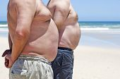 image of fat-guts  - Two very fat men on the beach - JPG