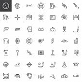 Car Parts Line Icons Set. Linear Style Symbols Collection, Outline Signs Pack. Vector Graphics. Set  poster