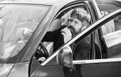 Man Bearded Businessman Smoking Cigarette While Sit In Car. Driver Smoking Cigarette. Minute To Rela poster