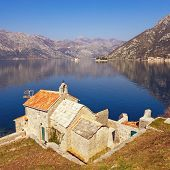 Beautiful Mediterranean Landscape. Montenegro, Adriatic Sea. View Of Bay Of Kotor, Church Of Our Lad poster