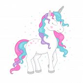 Unicorn Drawing For T-shirts. Design For Kids. Fashion Illustration Drawing In Modern Style For Clot poster
