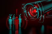 Giant Camera Checkes Group Of People As A Metaphor Of Ai-driven (artificial Intelligence) Surveillan poster
