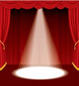image of stage theater  - vector red stage with one white spot light - JPG