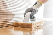 Cleaning New Ceramic Tiles By Professional Installer. Bathroom Interior Remodeling. poster