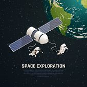 Space Exploration Background With Outer Space Research Symbols Isometric Vector Illustration poster