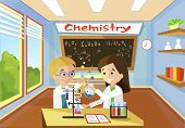 Bright Comfortable Classroom Lesson Chemistry Conduct Experiment Vector Flat Illustration. Boy With  poster