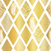 Gold Foil Collage Rhombus Shapes Seamless Vector Pattern. Contemporary Abstract Background Geometric poster