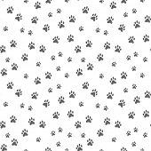 seamless pattern with dog footprints. Dogs paw track. Seamless pattern pets paws poster