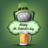 Happy St. Patricks Day. Volleyball Logo Template Design. Volleyball Ball With St. Patrick Hat And Mu poster