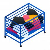 Dirty Clothes Cart Basket Icon. Isometric Of Dirty Clothes Cart Basket Icon For Web Design Isolated  poster