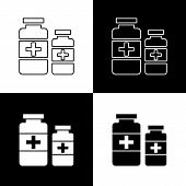 Flat Monochrome Medicine Bottles Icon Set For Web Sites And Apps. Minimal Simple Black And White Med poster