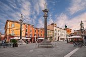 Ravenna, Emilia-romagna, Italy: The Main Square Piazza Del Popolo With The Ancient Buildings And The poster