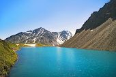 Beautiful Panoramic View At Kucherla Mountain Lake And Mountain Range. Belukha National Park, Altai  poster