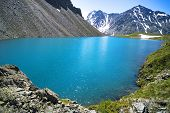 Mountain Lake. Beautiful Scenery. Blue Lake In The Highlands Of Altai. Siberia Russia. A Quiet Rest  poster