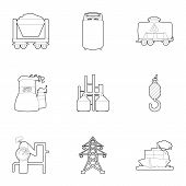 Coal Production Icons Set. Outline Set Of 9 Coal Production Icons For Web Isolated On White Backgrou poster