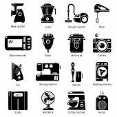 Domestic Appliances Icons Set. Simple Illustration Of 16 Domestic Appliances Icons For Web poster