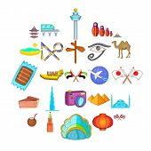 Guided Tour Icons Set. Cartoon Set Of 25 Guided Tour Icons For Web Isolated On White Background poster