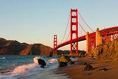 stock photo of golden gate bridge  - Golden Gate Bridge in San Francisco at sunset - JPG