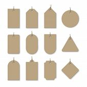 Brown Cardboard Price Tags With Shadow For Sale Campaign. Different Shapes Of Realistic Label Templa poster