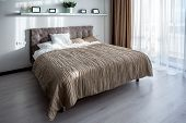 Double Bed With Pillows In Interior Of The Modern Bedroom In Loft Flat In Light Color Style Of Expen poster