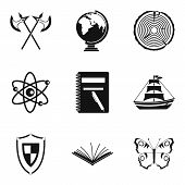 Discovery Of Land Icons Set. Simple Set Of 9 Discovery Of Land Icons For Web Isolated On White Backg poster