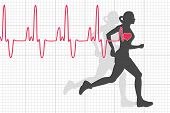 Vector Illustration Of Heartbeat Electrocardiogram And Running Woman poster