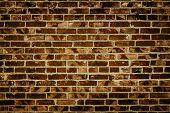 Brick Wall. Brick Texture. Dark Brown Brick Wall. Brick Background. Grunge Wall Texture Background.  poster