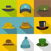Hat Style Icon Set. Flat Style Set Of 9 Hat Style Icons For Web Design poster