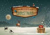 foto of illustration  - Winter holidays landscape with wooden sign - JPG