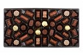 picture of nibbling  - Box of chocolates box isolated on white background - JPG