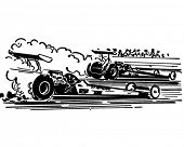 Drag Racing - Retro Clipart Illustration