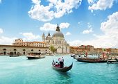 foto of old boat  - Grand Canal and Basilica Santa Maria della Salute - JPG
