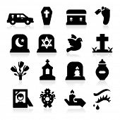 stock photo of hearse  - Funeral Icons - JPG